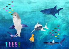 Fish meal. Painting of the band Sharks and fish in the sea Stock Photos