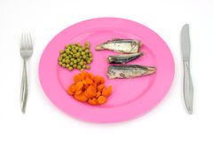 Fish meal on plate with silverware Royalty Free Stock Photography