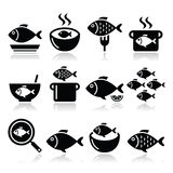 Fish meals icons - soup, chowder, goulash, fried fish. Vector food icons set - fish meals  on white Stock Photos