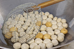 Fish meat ball. Fry in pan at market of Thailand Royalty Free Stock Image
