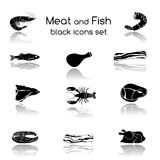 Fish and Meat Black Icons. Food fish and meat black icons collection of crab salmon pork steak isolated vector illustration Stock Images