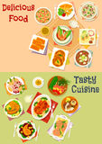 Fish and meat dish with asian soup and pastry icon. Set of meat and fish baked in sauce with vegetables, asian soup with rice, noodle, shrimp, tofu and beef Stock Image