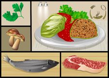 Fish and meat dishes. Set of restaurant food Royalty Free Stock Image