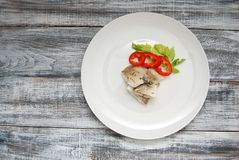 Fish Meat with Fresh Vegetables on White Plate over Gray Old Wooden Background with Copy Space. stock images