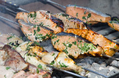 Fish and meat getting cooked on barbecue royalty free stock photography