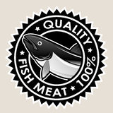 Fish Meat Quality 100% Seal. Seal certifying the quality in fish products Stock Photo