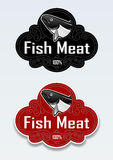Fish Meat Seal / Sticker. Elegant seal or sticker certifying the origin of 100% fish meat products Stock Photo