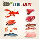 Fish and meat set. Food fish and meat decorative elements collection of chicken shrimp bacon vector illustration Stock Images