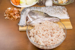 Fish meat and skin of pike with the head Stock Image