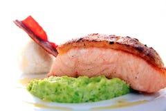 Fish meat smoked salmon fish Stock Photo