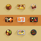Fish and meat steaks cooking icon flat isolated. Vector illustration Royalty Free Stock Photos