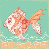 Fish with mechanical parts of body. Hand drawn background illust stock illustration