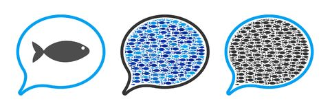 Fish Mention Balloon Vector Collage Illustration. Fish mention balloon vector illustration set with collage elements filled by fish icons in blue and gray colors Royalty Free Stock Image