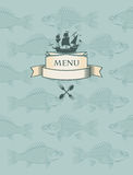 Fish menu. With sailboat in the background of the fish Stock Photos