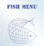 Fish menu card. Design template,  copy space Stock Photography