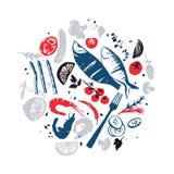 Fish menu design. Fresh farm products. Bon appetite. Sea food Stock Photography