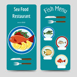 Fish menu flyers template Royalty Free Stock Photography
