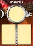 Fish Menu with Metal Porthole Stock Image