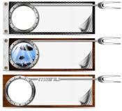 Fish Menu with Metal Porthole. Three horizontal restaurant fish menu with metal porthole and fork Stock Photography