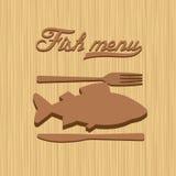 Fish menu restaurant design template. Fish menu on wooden background restaurant design template Royalty Free Stock Photo