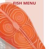 Fish menu, salmon. Vector illustration Stock Photos
