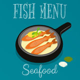 Fish Menu. Seafood Menu - Fried Fish in Frying Pan with Lemon on Blue Background. Vector illustration Stock Photo