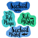 Fish menu and seafood menu. Lettering fish menu, seafood menu, hand drawn with brush pen, inc. Vector. Logo. Could be used for fish restaurant, market Royalty Free Stock Images