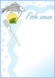 Fish menu template with a cod fish on plate, lemon and mint, knife and fork. Stock Photos