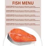 Fish menu, vector illustration. Fish menu, fish on plate inscription Stock Images