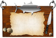 Fish Menu - Wooden Signboard. Wooden dark brown signboard with metal fish and kitchen knife, template for recipes or seafood menu Royalty Free Stock Images