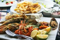 Fish meze. Stiil life with Traditional fish meze stock image