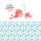 Fish mom and kid. Fish family kiddy vector illustration Stock Photography