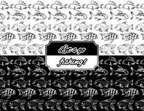Fish monochromic seamless borders. Monochromic seamless borders set with hand drawn fish vector Royalty Free Stock Image