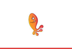Fish Monster Happy. Vector Illustration. Isolated on white background Stock Photos