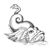 Fish monster isolated. Hand-drawn sketch of fish monster isolated on white Stock Images