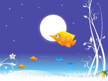 Fish and moon. With creeper on abstract background stock illustration