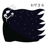 Fish moon. Hand drawn vector illustration of a moon goddess with bunny ears holding fish representing moon in her palm, with Japanese text in hiragana Oyasumi Stock Image