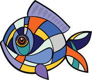 Fish mosaic. Colorful fish in the style of mosaic Stock Image