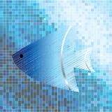 Fish on mosaic background. In blue tones Stock Photo