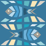 Fish mosaic seamless pattern. Natural vector background illustration Royalty Free Stock Photo
