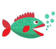Fish mouth opened with bubbles. Fish on a white background. Vector Illustration. Cute fish with bubbles.Vector. Fish on a white background. Vector Illustration Stock Photo