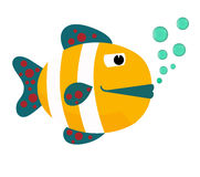 Fish mouth opened with bubbles. Fish on a white background. Vector Illustration. Royalty Free Stock Images