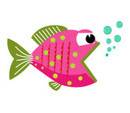 Fish mouth opened with bubbles. Fish on a white background. Vector Illustration. Stock Image