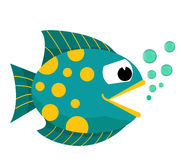 Fish mouth opened with bubbles. Fish on a white background. Vector Illustration. Royalty Free Stock Photos