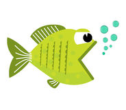 Fish mouth opened with bubbles. Fish on a white background. Vector Illustration. Fish on a white background. Vector Illustration. Royalty Free Stock Photo