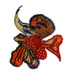 Fish from multi-colored beads handmade stock images