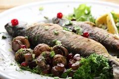 Fish with mushrooms Royalty Free Stock Photo