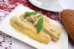 Fish with a mustard sauce Stock Photography