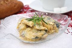 Fish with a mustard sauce Stock Image
