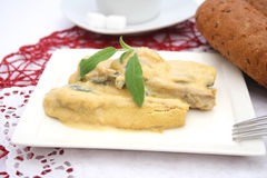 Fish with mustard sauce Royalty Free Stock Images